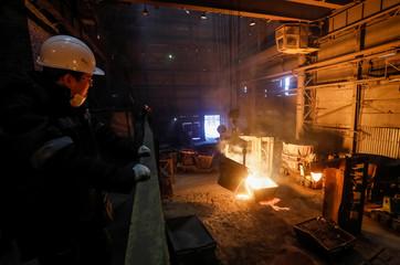 A molten ferroalloy ladle is seen inside Eurasian Resources Group's (ERG) Aksu Ferroalloys Plant in the town of Aksu, north-eastern Kazakhstan