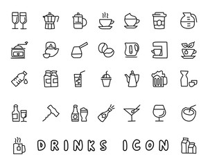 drink hand drawn icon design illustration, line style icon, designed for app and web