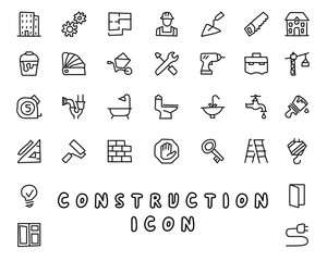 construction hand drawn icon design illustration, line style icon, designed for app and web