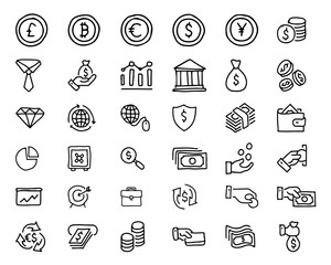 finance hand drawn icon design illustration, line style icon, designed for app and web