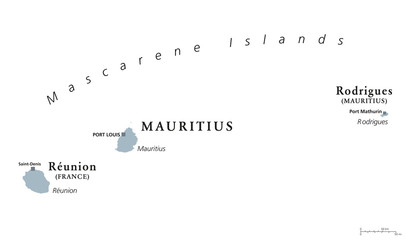 Mascarene Islands, political map. Mauritius, Reunion and Rodrigues. Mascarenhas Archipelago, a group of islands in the Indian Ocean. English labeling. Gray illustration on white background. Vector.