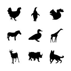 icon Animal with walking, rhinoceros, horn, cock and rihino