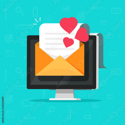 Love Email Message On Computer Vector Illustration Flat Cartoon E