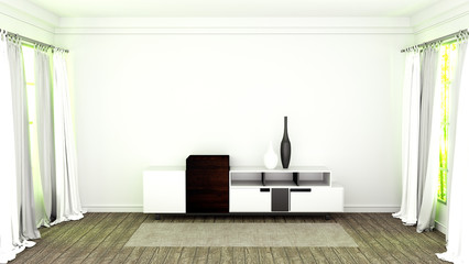 Tv stand with wooden flooring on white wall background. 3D rendering