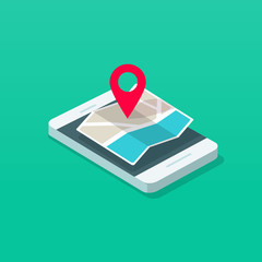 Smartphone and map pointer isometric vector illustration, flat cartoon mobile phone map navigator in 3d style, concept of cellphone navigation technology, travel destination mark