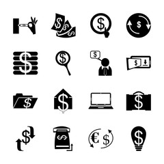 icon Currency with bitcoin, bank, commerce, search and transfer money