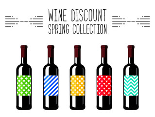 Colorful vector illustration. Wine bottles. Front view. Discount. Spring collection. Wine collection. Flat style design.