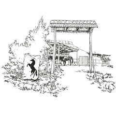 Vector engraved sketch style illustration of a horse stable with the silhouette of a horse inside the barn.