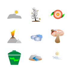 icon Nature with forest, forest mushroom, mushroom, sun and water