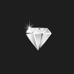 Diamond logo, realistic cut diamond with spark as a gemstone for jewelry workshop emblem