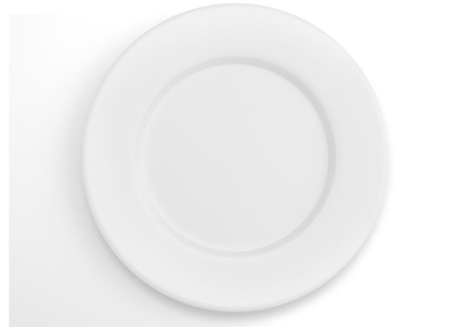 Empty white dinner plate top view
