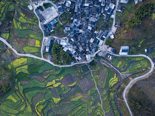 aerial photo of small village of Anhui, China