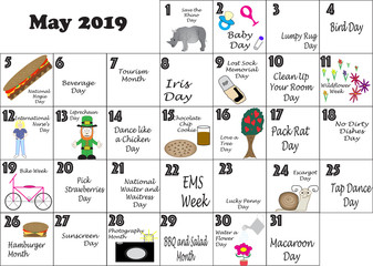 May 2019 Quirky Holidays and Unusual Celebrations desk calendar with Sunday start day