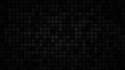 Abstract dark background of small squares or pixels in shades of black and gray colors.