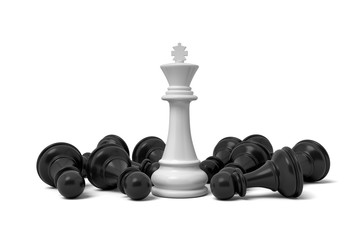 3d rendering of a white standing king chess piece surrounded by fallen pawns.