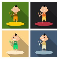 Vector cartoon image of a cute little boy in shorts and t-shirt standing and sighting to shoot from a slingshot on background. Positive character.