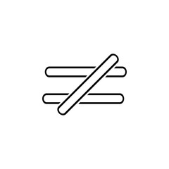 the sign is not equal to icon. Thin line  icon for website design and development, app development. Premium icon