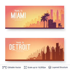 Miami and Detroit famous city scapes.