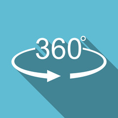 360 degree panorama symbol flat design vector blue icon