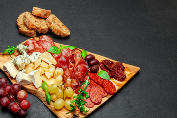 Cold meat cheese plate with salami sausage, prosciutto and cheese