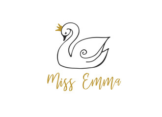 Simple and stylish modern logo and illustration, swan vector hand drawn element