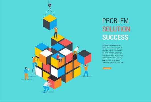 Cube Puzzle Solution Solving Problem Concept banner