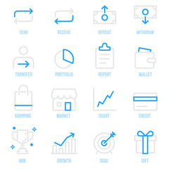 Money Transaction Financial Payment Vector icon set