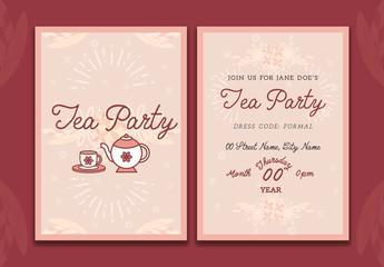 Tea Party Invitation Card Layout