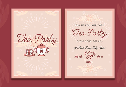 Tea Party Invitation Card Layout