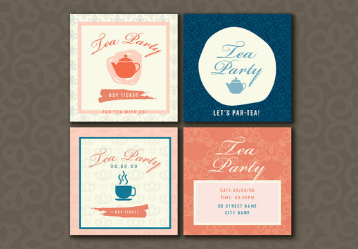 4 Tea Party Social Media Post Layouts