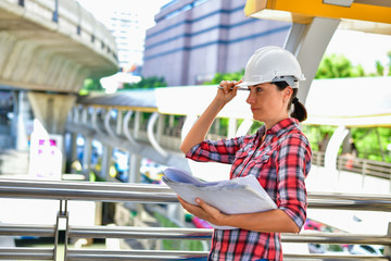 Business Concepts Engineering, Professional engineers, Young Business people are planning construction.