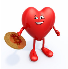 heart with arms, legs and bitcoin on hand