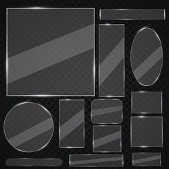 Glass plates set. Vector glass banners on transparent background. Glass mirror, transparent.