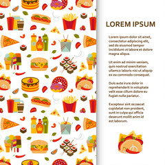 Flat poster or banner template with fastfood icons. Vector illustration.