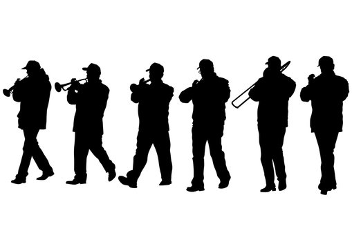 Military musicians on parade on white background