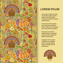 Flat poster or banner template with autumn pattern and turkey. Vector illustration.
