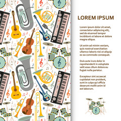 Flat poster or banner template with musical instruments. Vector illustration.