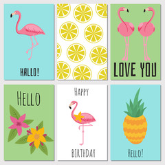 Summer kids cards with tropical fruits, plants and flamingos