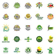 set of vector logos healthy food