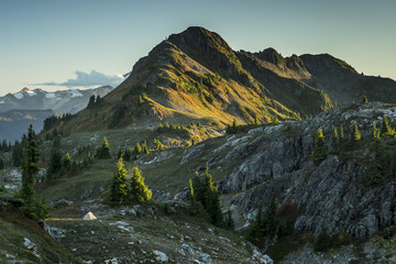 Pitched tent in the North Cascades wilderness