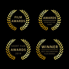 Film awards logotype. Isolated elegant abstract gold gradient emblem. Luxurious congratulating framed template, prize. Celebrating decorative traditional greetings, palms branches in minimalism style.