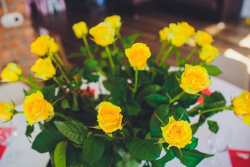 Yellow roses in vase on the table. Holidays and celebration concept