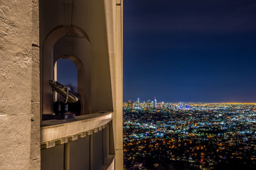 Night view of Los Angeles Downtown from The Griffith Observatory
