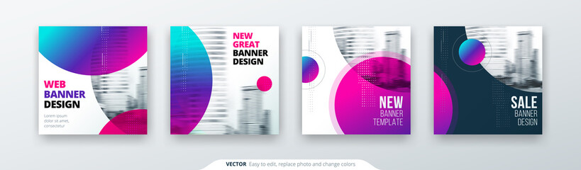 Abstract square background concept with circle for card banner brochure flyer design in blue colors.