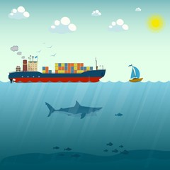 Vector illustration of ship and boat floating by sea. Business and leadership concept design element in flat style. Career achievements and personal growth