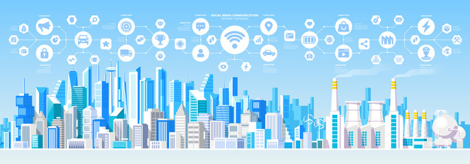 Social Media Communication Internet Network Connection City Skyscraper View Cityscape Background