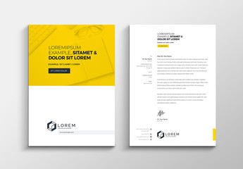 Yellow and White Letterhead Layout