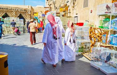 Young Qataris in Birds market, Souq Waqif, Doha, Qatar