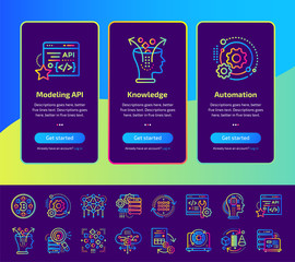 Onboarding app screens of Data science technology and machine learning process icons set. Suitable for Interface UI, UX, mobile apps, websites.