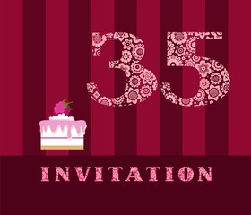 The invitation, for 35 years, cake with raspberries, vector, English. The invitation to the birthday party. Wedding anniversary. Color card. Berry cake with raspberries on a striped, dark red field.